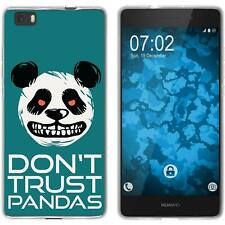 Case für P8 Lite 2015 (1.Gen.) Silikon-Hülle Crazy Animals  M2 Panda