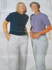 Knitting Pattern Ladys Easy Plain Cardigan & Round Neck Sweater Size 30-42  4ply