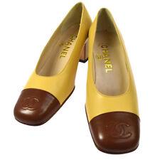 Authentic CHANEL CC Logos Bicolor Pumps Shoes Leather Beige Vintage NR10807d