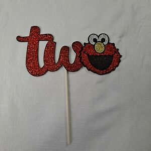 Elmo Second Birthday Two Years Old Cake Topper sparkle red