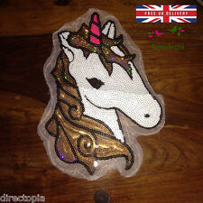Large Sew On Sequins Applique Unicorn Horse Pony Patch Motif Sparkly Customise