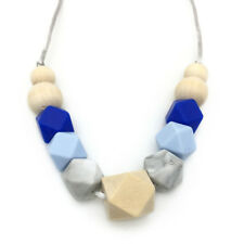 Baby Teething Necklace Chewable Hexagon Silicone Beads Nacklace Jewelry BPA Free