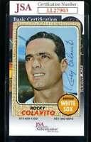 Rocky Colavito JSA Coa Autograph 1968 Topps Hand Signed