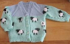 HAND KNITTED TRADITIONAL YORKSHIRE LAMBS CARDIGAN. AGE 3-6M. GIFT IDEA?