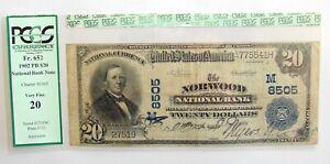 1902 PB $20 FR.652 NORWOOD NATIONAL BANK NOTE OHIO CHARTER# 8505 PCGS VF20