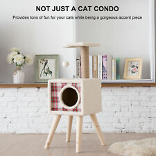 2-Level White-Lint-Covered Cat Tree with Chipboard Construction