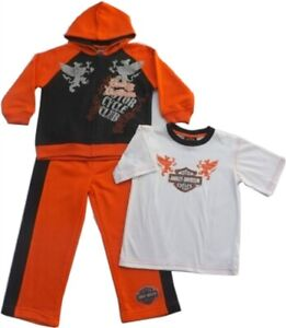 Harley Davidson Boys Hoodie Sweat Shirt, T-Shirt & Sweat Pants Kids HD Gift Set