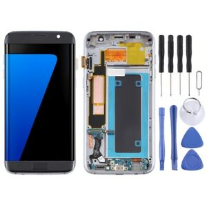 For Samsung Galaxy S7 Edge AMOLED Screen Touch Digitizer With Frame Glass BLACK