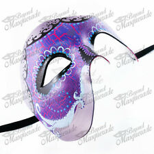 Day of the Dead Skeleton Phantom Masquerade Mask Purple Top Half Design