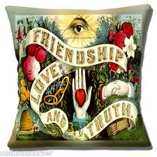 """L'amicizia amore e verità Copricuscino 16""""x16"""" 40cm design in stile retrò vintage"""