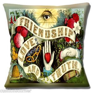 """Friendship Love And Truth Cushion Cover 16""""x16"""" 40cm Vintage Retro Style Design"""