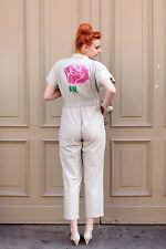 Overall Jumpsuit beige Blumen handbemalt flowers pink 80er True VINTAGE 80s