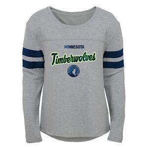Minnesota Timberwolves NBA Girls Kids (4-6X) & Youth (7-16) Grey Dolman Tee