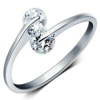 *UK* 925 SILVER PLT ADJUSTABLE OPEN TWIN DOUBLE CRYSTAL RING THUMB WRAP LADIES