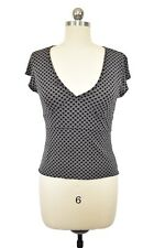 Gap Women's Knit Top M Black Taupe Geometric Circle Short Sleeve Stretch Career