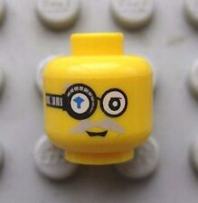 Lego Minifigure HEAD MONOCLE W/ Gray Moustache, Dual Sided Power MIners Cyborg