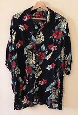 Coconut Breeze Hawaii Mens XL Black Red Hibiscus Aloha Hawaiian Shirt Rayon