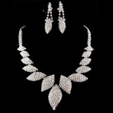 Silver Crystal Diamante Wedding Bridal Necklace Earrings Jewellery Set Party