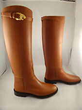 NIB Valentino Lion Gold Animalia Cognac Brown Leather Knee High Boots 36 $1845