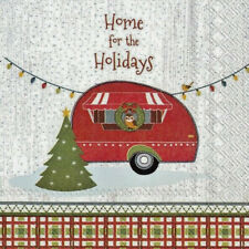 20 SERVIETTEN NAPKINS HOME FOR THE HOLIDAYS 25 X 25 WOHNWAGEN TANNENBAUM EULE