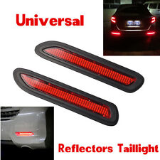 Universal Car LED Bumper Reflectors Red Lens Taillight Brake Fog Warning Lights