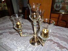 Vintage Silver Plate? 3 Arm 4 Light Candelabra Candle Holder! And 4 votive cups
