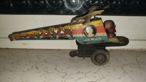 Old Vintage Tin Friction Powered Helicopter Toy from India 1960 .