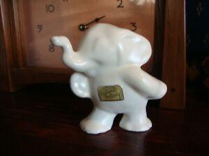 Haldeman Caliente California Pottery Elephant, Matt White, Original Label 1930's
