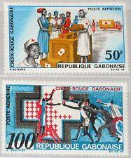 GABON GABUN 1968 306-07 C68-69 Red Cross Rotes Kreuz Medicine Medizin Nurse MNH