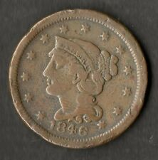 USA Large Size Copper One Cent 1846 Small Date F+ ( Double Struck 6 )