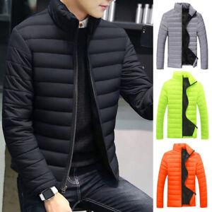 Winter Men Padded Coat Down Cotton Puffer Jackets Zipper Lightweight Outwear