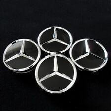 Nabendeckel für Mercedes Benz SCHWARZ GLANZ Fahrzeuge 75mm Satz (4Stück Kappen)