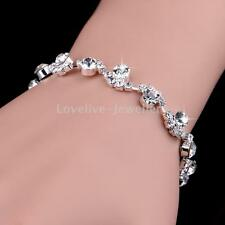 Bridal Bridesmaid Wedding Diamante Rhinestone Crystal Silver Bangle Bracelet