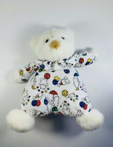 """Vintage Carters White Clown BEAR Rattle 9"""" Plush Terry Collar Balloons Baby"""