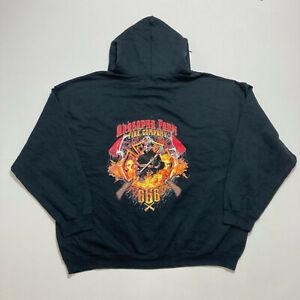 Arasapha Farm Fire Company Mens Hoodie Black Printed Hooded Sweatshirt Size 2XL