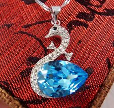 Solid 925 Sterling Silver Swan Pendant Purple/ Blue made with Swarovski Crystal