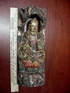 ANTIQUE CHINESE ASIAN ? CARVED WOODEN PAINTED BUDDHA DIETY GOD 17th. or OLDER ?