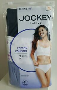 Jockey Elance 3 pk Pairs Women's Bikini Underwear Panties 100% Cotton size 7