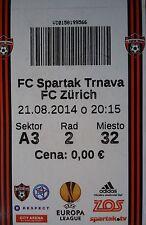TICKET UEFA el 2014/15 Spartak Trnava-FC Zurigo