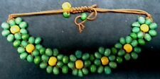 Wooden Bead Pull Cord Bracelet with Aqua and Yellow Beads
