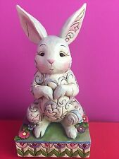 "Jim Shore ""cute And Cuddly"" Rabbit Bunny Designer Figure Carved White Colourful"