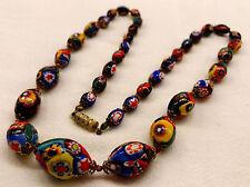 Vintage Murano Millefiori Graduated Glass Bead Necklace