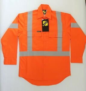 Hi Vis Mens Work Shirt Long Sleeve Size XS Reflective With Vents Safety Orange
