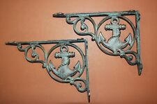 "(2) Antique-style Maritime Anchor Design Shelf Brackets, Cast Iron, 9"", B-39"