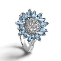 Fashion Women Aquamarine White Sapphire Flower Silver Filled Wedding Band Ring