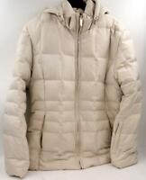Calvin Klein Hooded Puffer Coat Jacket Women's Lined Zip Up Beige Jacket Sz M