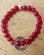 Red Tourmaline Beaded Bracelet With  Sterling Silver Forever Charm