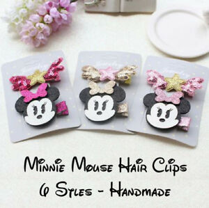 Minnie Mouse Hair Clips (2 Pieces) 6 Designs - Handmade - Fast & Free Post