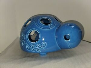 Big Blue Porcelain Turtle Candle Cover