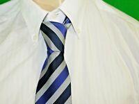 DEVRED    Superbe Cravate soie gris bleu     silk tie corbata krawatte